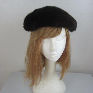 """Genuine 50s Vtg Real Black Mink Fur Beret Hat 21"""""""